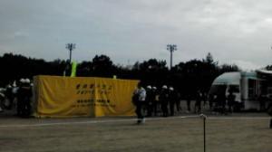 鶴牧中学校にて行われた多摩市総合防災訓練の様子